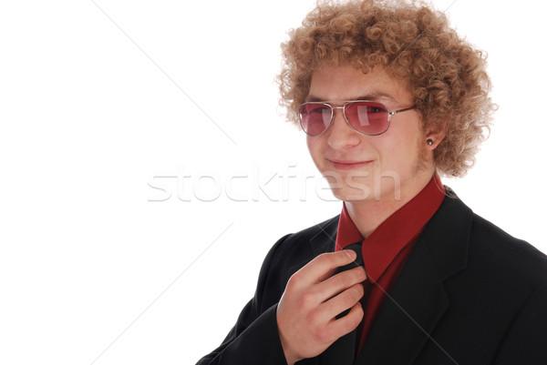 Fiatal üzletember megjavít nyakkendő férfi öltöny Stock fotó © dnsphotography