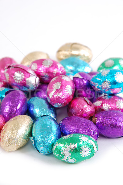 Húsvéti tojások csokoládé fehér húsvét tavasz étel Stock fotó © dnsphotography