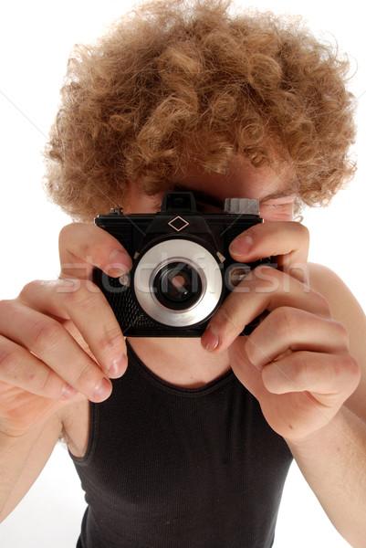Foto stock: Retro · hombre · cámara · joven · afro · edad