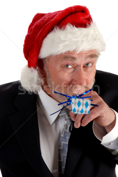 Business Santa and noisemaker Stock photo © dnsphotography