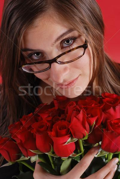 Gafas nina rosas mujer hermosa ramo mujer Foto stock © dnsphotography