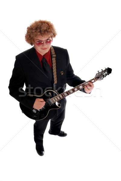 Guitarrista joven negro jugando guitarra Foto stock © dnsphotography