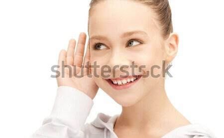 Adolescente écouter potins lumineuses photos fille Photo stock © dolgachov