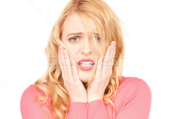 Malheureux femme lumineuses photos blanche étudiant Photo stock © dolgachov