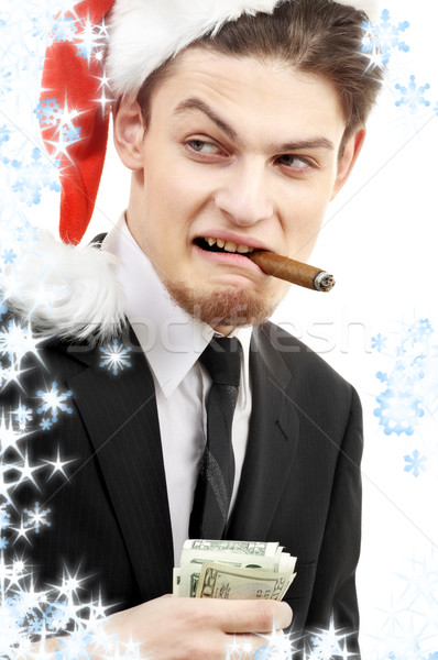 bad santa with snowflakes Stock photo © dolgachov