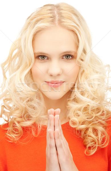 Pregando imprenditrice luminoso primo piano ritratto foto Foto d'archivio © dolgachov