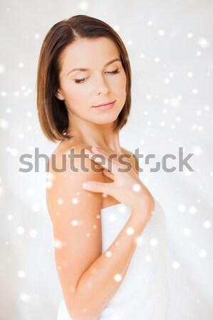 Czyste piękna zdjęcie topless brunetka wody Zdjęcia stock © dolgachov