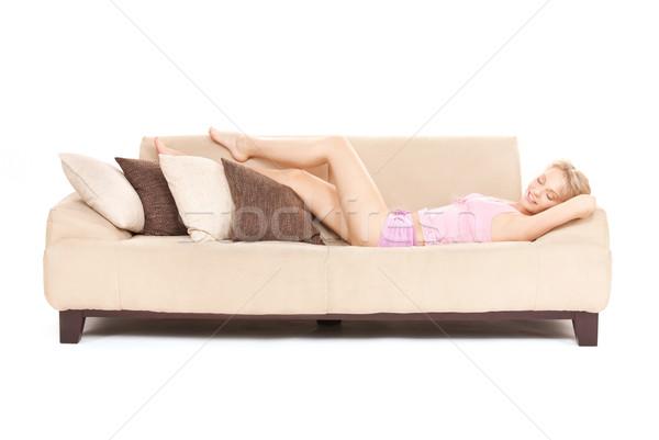 sleeping woman on sofa Stock photo © dolgachov