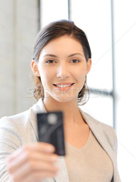 happy woman with credit card Stock photo © dolgachov