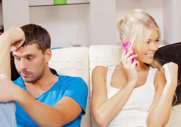 çift cep telefonu parlak resim kadın aile Stok fotoğraf © dolgachov