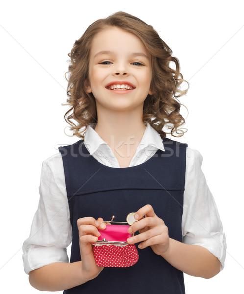 девушки монеты кошелька фотография красивая девушка школы Сток-фото © dolgachov
