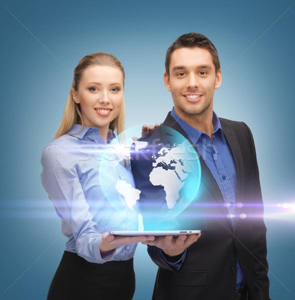 Сток-фото: человека · женщину · виртуальный · мира · бизнеса