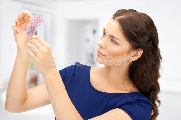 Vrouw euro cash geld foto business Stockfoto © dolgachov