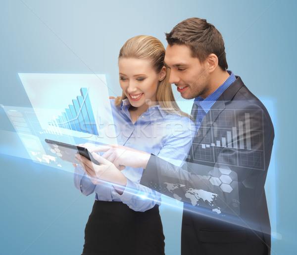 Сток-фото: два · деловые · люди · рабочих · виртуальный · экране · фотография