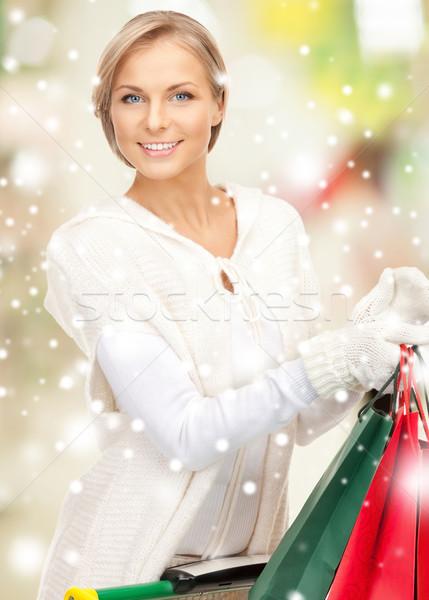 Mulher venda natal férias Foto stock © dolgachov