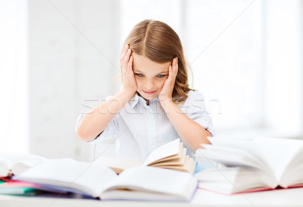 Csinos lány sok könyvek iskola oktatás Stock fotó © dolgachov