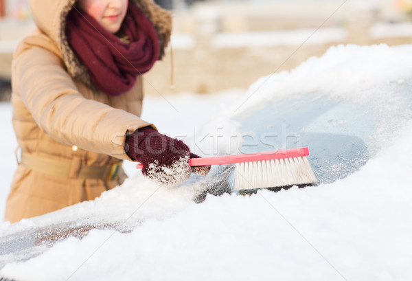 woman cleaning snow from car back window Stock photo © dolgachov