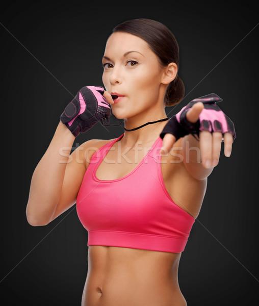 Asya personal trainer ıslık spor uygunluk sağlık Stok fotoğraf © dolgachov