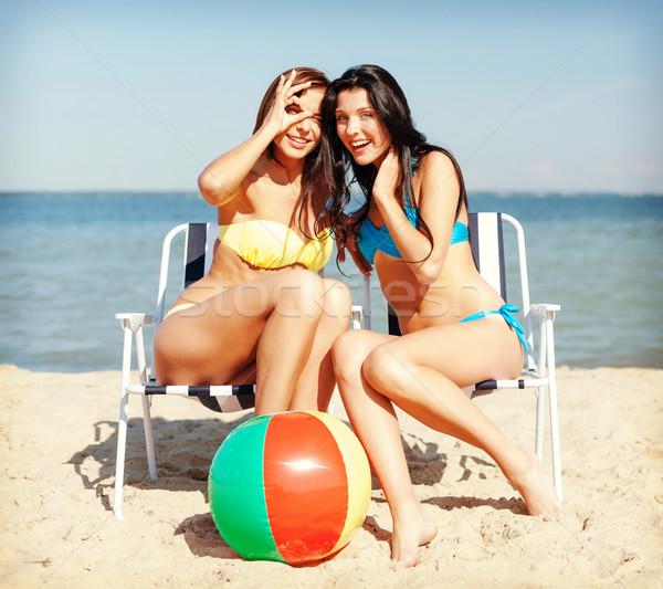 女の子 日光浴 ビーチチェア 夏 休日 休暇 ストックフォト © dolgachov