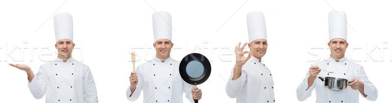 Boldog férfi szakács konyha kellékek mutat Stock fotó © dolgachov