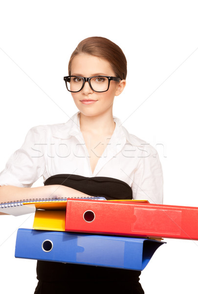 Stock fotó: Fiatal · vonzó · üzletasszony · mappák · kép · üzlet