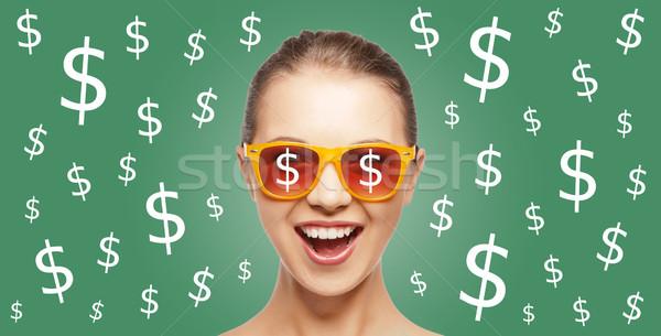 счастливым женщину доллара валюта люди Финансы Сток-фото © dolgachov