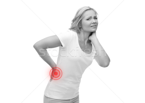 unhappy woman suffering from backache Stock photo © dolgachov