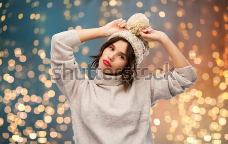 Vervelen tienermeisje vinger pistool gebaar Stockfoto © dolgachov
