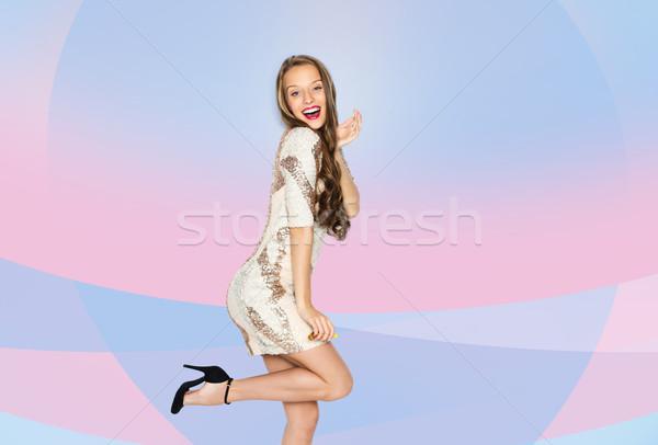 Gelukkig jonge vrouw tienermeisje kostuum mensen stijl Stockfoto © dolgachov