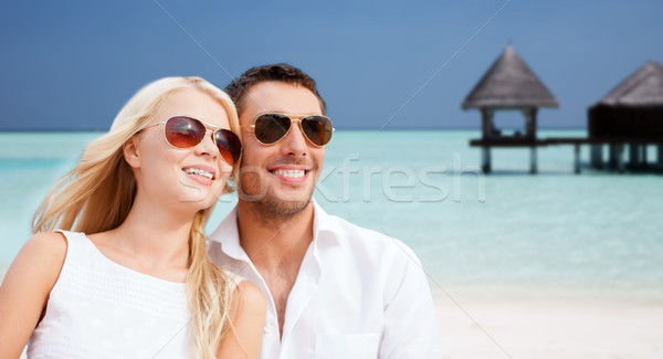 Mutlu çift plaj bungalov yaz tatil Stok fotoğraf © dolgachov