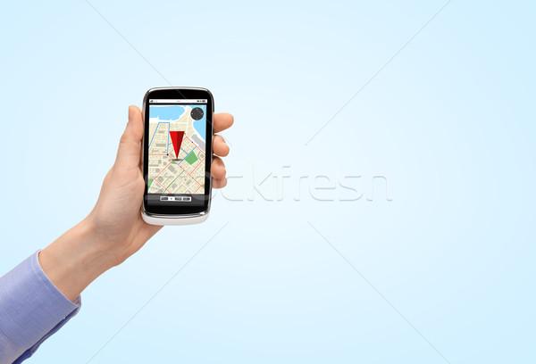 стороны смартфон GPS карта люди Сток-фото © dolgachov