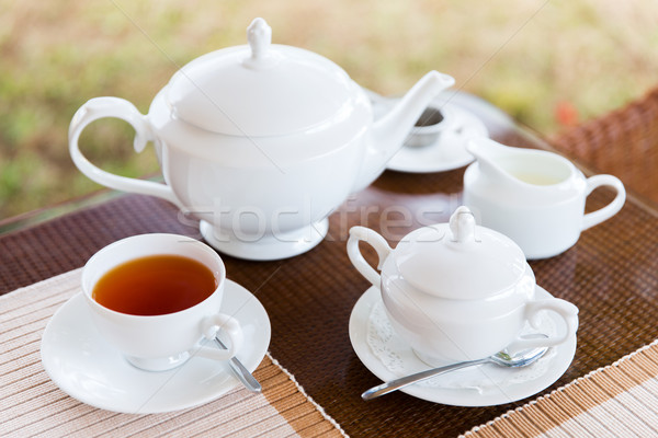 close up of tea service at restaurant or teahouse Stock photo © dolgachov