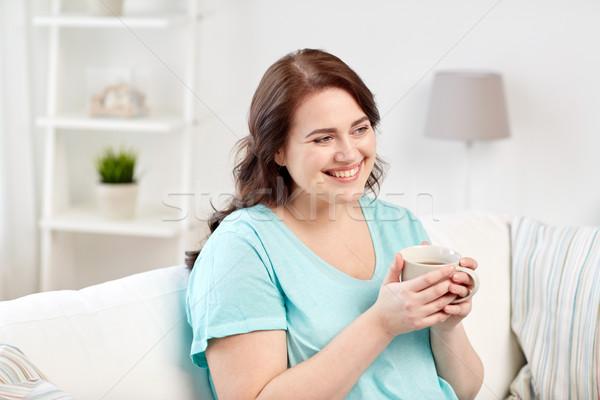 幸せ プラスサイズ 女性 カップ 茶 ホーム ストックフォト © dolgachov