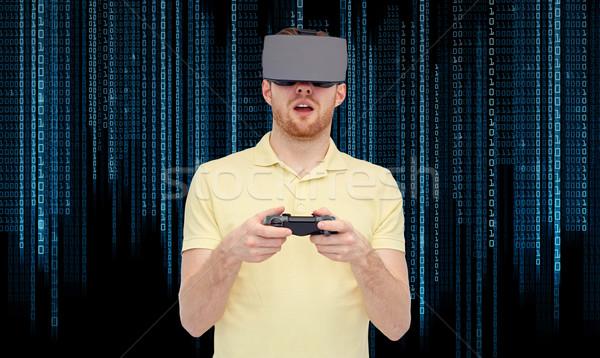 человека виртуальный реальность гарнитура 3d очки 3D Сток-фото © dolgachov