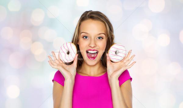 Feliz mujer muchacha adolescente personas vacaciones Foto stock © dolgachov