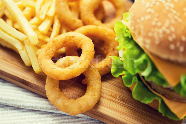 close up of fast food snacks on table Stock photo © dolgachov