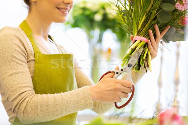 Vrouw bloemen schaar mensen business Stockfoto © dolgachov