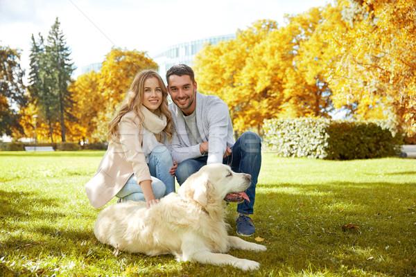 Glücklich Paar labrador Hund Fuß Stadt Stock foto © dolgachov