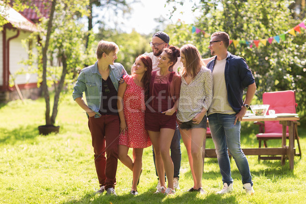 Boldog tini barátok ölel nyár kert Stock fotó © dolgachov