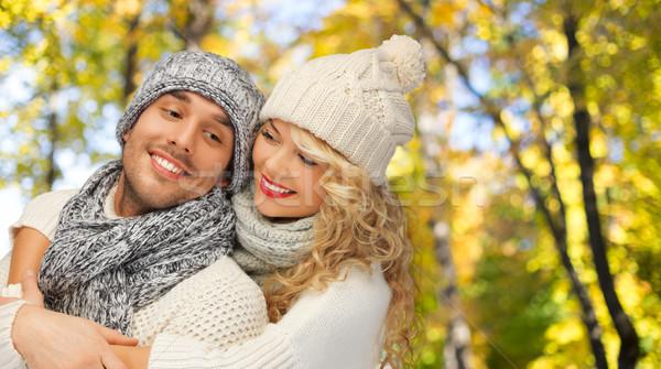 Gelukkig paar warm kleding mensen Stockfoto © dolgachov