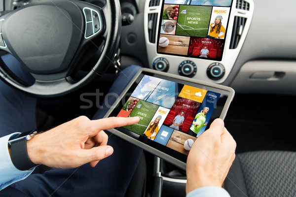 close up of man with tablet pc in car Stock photo © dolgachov