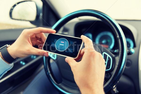 Photo stock: Mains · commencer · moteur · icône · smartphone · voiture