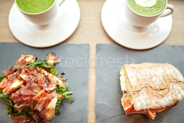 Stock photo: salad, sandwich and matcha green tea at restaurant