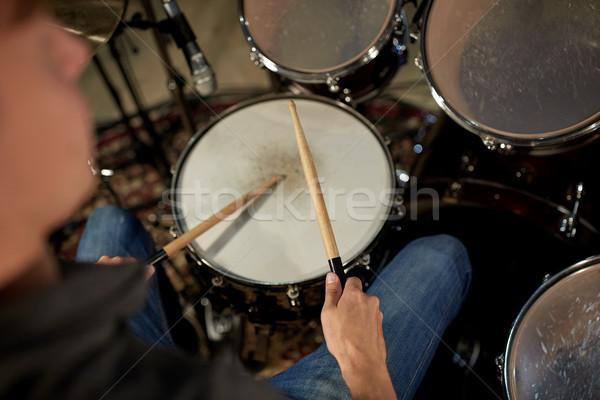 человека играет барабаны концерта музыку студию Сток-фото © dolgachov