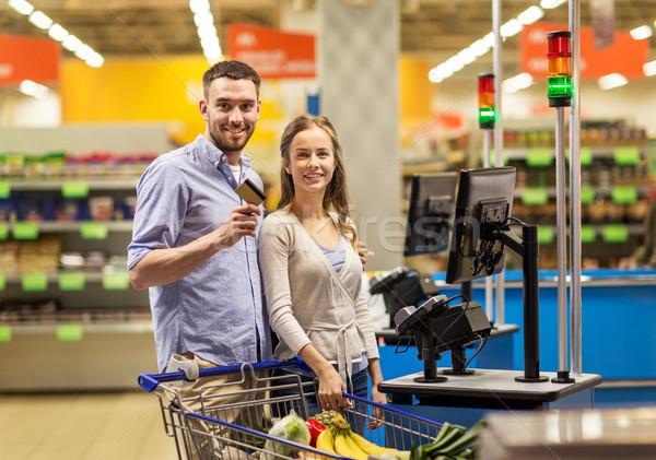 カップル 買い 食品 食料品 レジ ショッピング ストックフォト © dolgachov