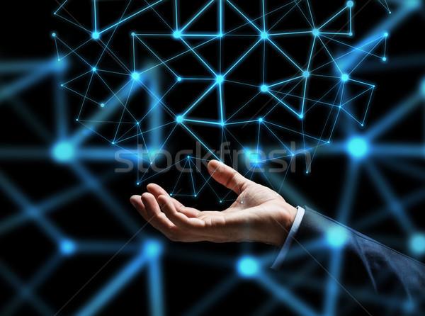Empresário mão holograma pessoas de negócios rede Foto stock © dolgachov