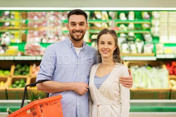 Photo stock: Heureux · couple · alimentaire · panier · épicerie · Shopping