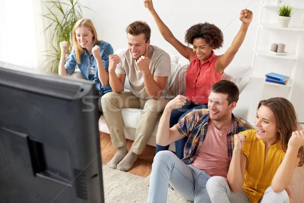 幸せ 友達 リモート を見て テレビ ホーム ストックフォト © dolgachov
