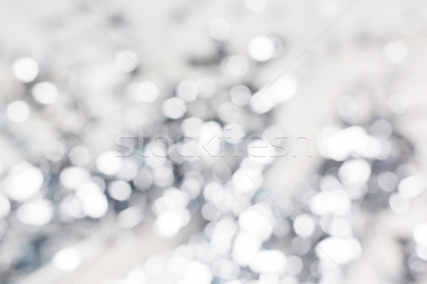 Zamazany srebrny christmas światła bokeh wakacje Zdjęcia stock © dolgachov