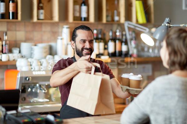 男 ウェイター 顧客 コーヒーショップ 中小企業 ストックフォト © dolgachov